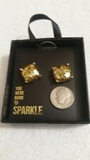 "Born to Sparkle"" -New with Gift Box Large Stud Gold Glitter Earrings ""You Were"