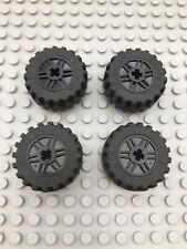 Lego x 4 Black Technic Wheels 30.4 x 14 (55981 6578) Tyres Vehicle City