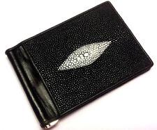 Genuine Stingray Wallets Skin Leather Bifold Money Clip Men's Black