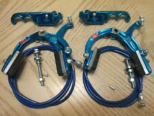 Old school Bmx Chang Star Brake set blue nos 2 fingers levers front and rear