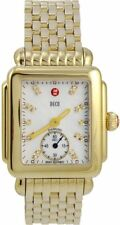 NEW MICHELE DECO MID MOP DIAMOND DIAL GOLD TONE WATCH MWW06V000004