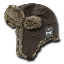 Brown TRAPPER AVIATOR HAT Fur Bomber Cap winter ski ear flaps trooper S/M