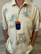 TOMMY BAHAMA MEN'S CAMP SHIRT BEIGE PAVIA PALMS NWT/XL