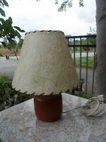 Mid Century Modern Vintage Fiberglass Lamp Shade Atomic Star Beige Solid Wood