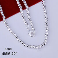 """Stunning 925 Sterling Silver Filled 4MM Solid Ball Beads Charm Necklace 20"""""""