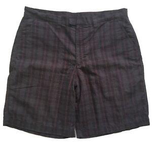 Patagonia Charcoal Gray Plaid Organic Cotton Seersucker Shorts Men's Size 36