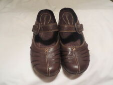 Bare Trap Maryjane Shoes, Hook-Up, Wedge Heel, Open Back, Brown, Leather, Sz. 6M