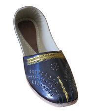 Men Shoes Leather Mojari Handmade Black Indian Loafers & Slip Ons Flat US 8