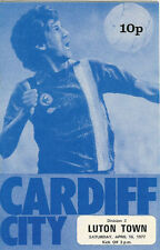 Cardiff City v Luton Town 16 April 1977 Football Programme