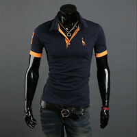 New Mens Stylish Slim Fit Short Sleeve Casual Polo Shirts T-shirt Tee Tops