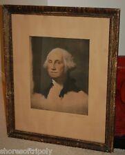 19th C. GEORGE WASHINGTON STUART HAND EMBELLISHED ORIGINAL LITHOGRAPH PORTRAIT