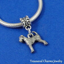 Silver Airedale Welsh Terrier Dangle Bead Charm fits European Bracelet *New*
