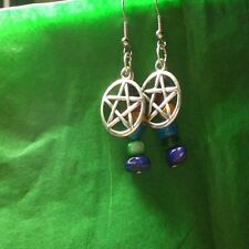 Wicca Pentagram Pentacle Goddess Mixed Stone Earrings Drop Dangle