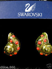SIGNED SWAROVSKI SHELL ~ CORAL CRYSTAL EARRINGS NEW RARE RETIRED RARE