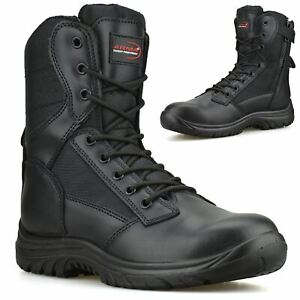 Mens Leather Zip Up Combat Safety Steel Toe Cap Army Work Ankle Biker Boots Size