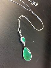 7CT Natural Emerald and Diamond Pear Drop Pendant Necklace 14K White Gold