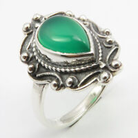 Green Onyx Ring Size 5 Sterling Silver Women Engagement Jewellery