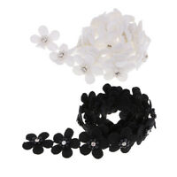1Yard Pearl Flower Embroidery Lace Trim Ribbon Sewing Applique Embellishment
