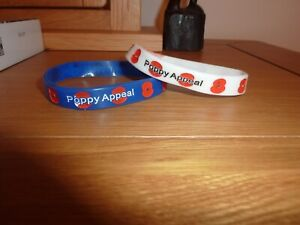 Pair Royal British Legion POPPY Silicone Wristband  Adult Size 1x Blue 1x White