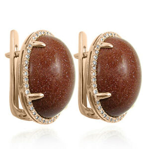 14k Solid Rose Gold Pave Setting Diamond and Gold Stone Earrings E1528