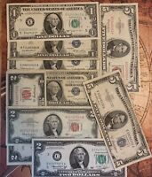 Silver Certificate, JBarr, Red Seal,  $1.00 , $2.00  & $5.00  Estate Sale