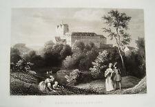 Schloß Ballenstädt  Ludwig Richter echter alter Stahlstich 1844