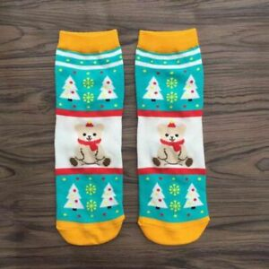 Christmas Socks Women Bear Print Warm Winter Xmas Funny Socks Gift