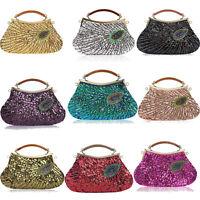 Womens Handbags Beaded Clutch Peacock Sequins Purse Wallet Evening Bags Handmade