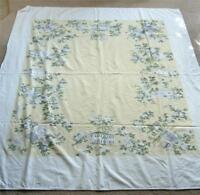 Vintage 1950s Cotton Print Tablecloth Leacock Home and Garden Yellow 68 x 58
