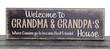 GRANDPARENT WOOD BLOCK SIGN HANDMADE GRANDMA GIFT HOME DECOR 1205