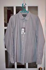 Markrich Men's Casual L/S Shirt Gray & White Stripes Size XXL 44CM New NWT