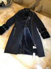 Versace Collection shearling sheepskin   coat, black, size UK 12