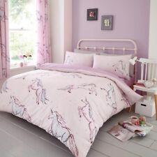 Star Unicorns Kid Girls Single Bed Duvet Quilt Cover Bedding Set Pink Lilac New