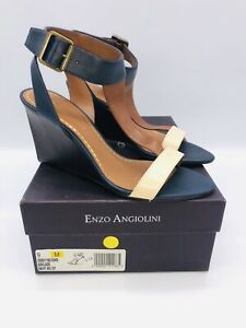 Enzo Angiolini Women's Vlade T-Strap Wedge Sandals Navy/ Multi US 9M