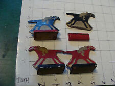 vintage 1930's or so 4 WOODEN HORSE game pieces w stands 2 black & 2 red