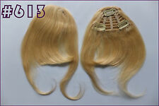 3Clips On Bangs Long Clip In 100%Real Remy Human Hair Extension Fringe Any Color