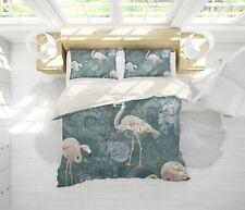3D Flower Flamingo Quilt Cover Set Bedding Duvet Cover Double/Queen/King 3pcs 33