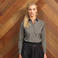 Premier Ladies Long Sleeve Poplin Blouse - Work Shirt - Casual Blouse Size 6-30