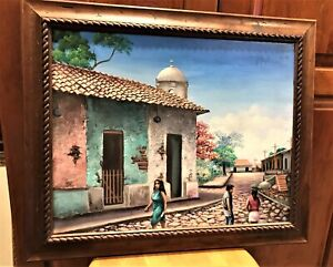 Oil Painting on 16x20 Canvas Signed W Gonzalez Nicaragua Street People Houses
