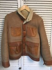 Vtg 1960s East West Musical Instruments Co. Shearling Leather Bomber Jacket M/L