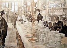 ESTAMPE 19è BAR PUB LONDRES Paul RENOUARD typogravure 1886 Gillot pinte beer