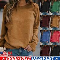 Womens Casual Fleece Long Sleeve Top Pullover Loose Sweatshirt T-Shirt Blouse