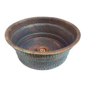 Oxidized Rustic Copper Vessel Bathroom Sink Toilet Wash Basin Washbasin Bowl