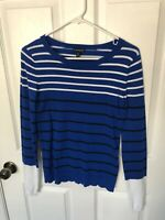 EXPRESS Women's Long Sleeve Sweater Color Blue and White Striped XS BRAND NEW