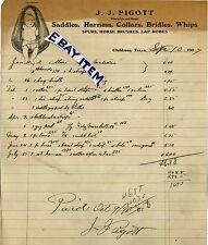 1907 SIGNED LETTERHEAD John Joseph Pigott SADDLE MAKER saddlery CHILDRESS TEXAS
