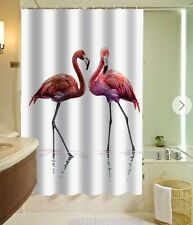 Red Pair of Flamingos Design Custom Shower Curtain Polyester Fabric With 12 Hook