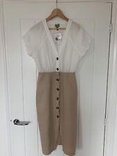 ASOS Midi Summer Pencil Button Front Dress Linen/Cotton Mix Size 8 BNWT