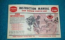 Vintage Penn Reels 32B Instruction Manual & Parts List