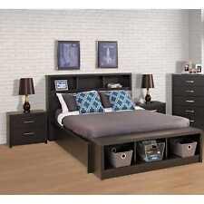 Queen Size Upholstered Bookcase Headboard Storage Bedroom Wood Furniture  Black