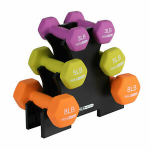 Dumbbell Weight Set w/ 3, 5 and 8 Pound Hand Weights and Storage Rack Quality